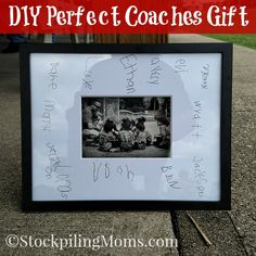 Diy Perfect Coaches Gift That Cost Less Than 20 This Would Be Perfect For Any Coach It Would Also Make A Neat Keepsake At Your Baseball, Football Or Basketball Banquet Or Party. Simply Have Each Guest Sign As They Enter. Softball Coach Gifts, Cheer Coach Gifts, Soccer Gifts, Cheer Gifts, Baseball Gifts, Team Gifts, Cheerleading Gifts, Baseball Mom, Volleyball Gifts