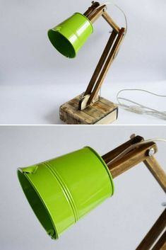 Cute Wooden Reading Desk Lamp - Desk Lamps, Wood Lamps - Unique, color accent wooden lamp made of solid lime wood and metal shade. Especially for you as an accent for your home, it will give … Read More » #Concept #Desklamp #Handmadelighting #Lamp #Lampshade #Lighting #Lightingdesign #Metallic #Reading #Recycle #Woodlamp #Woodwork #Woodworking