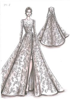 Fashion Design Drawing by Oleg Cassini Creative Director Viola Chan Dress Design Drawing, Dress Design Sketches, Fashion Design Sketchbook, Dress Drawing, Fashion Design Drawings, Fashion Sketches, Drawing Clothes, Fashion Figure Drawing, Fashion Drawing Dresses