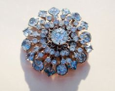 Vintage Glamorous Blue Rhinestone Starburst Floral Brooch