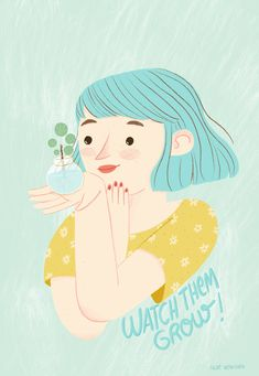Girl with blue hair illustration portrait. Pilea Peperomioides illustration. Watch ypur plants grow. Illustration anrt made by Nur Ventura. #illustration #portrait #bluehair #girlillustration #plantlover #pileapeperomioides #pilea #plantillustration #plant Hair Illustration, Plant Illustration, Fresh Hair, Blue Hair, Disney Characters, Fictional Characters, Portraits, Photo And Video, Watch