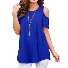 Women's Casual Cold Shoulder Tunic Tops Short&Long Sleeve Loose Blouse Shirts T Shirt Chemise Fashion, Raglan, Loose Tops, Loose Fit, Casual T Shirts, Shirt Blouses, Tee Shirts, Shirt Style, Tunic Tops