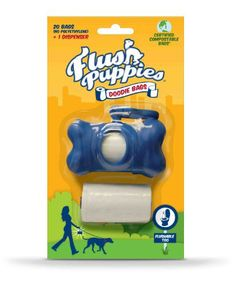 Flush Puppies Doodie Bags, Flushable & Certified Compostable, Dispenser + 2 Refill Rolls (20 Bags) - http://www.thepuppy.org/flush-puppies-doodie-bags-flushable-certified-compostable-dispenser-2-refill-rolls-20-bags/