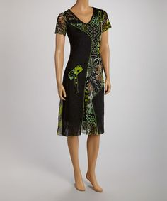 Love this Green & Black Abstract Panel V-Neck Dress by Jolibel on #zulily! #zulilyfinds