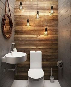 Love the wall and streamlined fixtures. #BathroomToilets