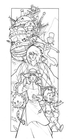 Howl's Moving Castle tattoo design.  Not exactly how I would want it but I love the idea and layout of this one (and I would want the characters to look much more like the anime than these do)