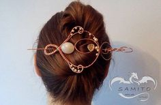 Hair pin shawl pin free shipping hammered by SamitoWireArt on Etsy