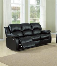 Cranley Black Bonded Leather Power Double Reclining Sofa