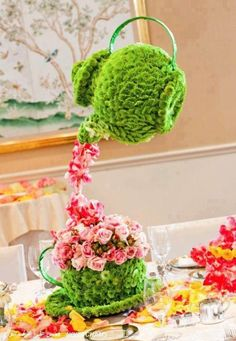 Amazing pink and green teapot floral display