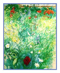Boy in a Summer Garden by Swedish Artist Carl Larsson Counted Cross Stitch or Counted Needlepoint Pattern