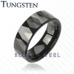 PIN IT TO WIN IT! Black Prism: This Black IP Tungsten Carbide Ring With Multi-Face let Prism Design is sure to dominate, take over flaunt it with glossy finish and a complete Goth look, nothing stands a chance against it. With multiple prism angles, it sure does magic with light.  $119.99   www.buybluesteel.com