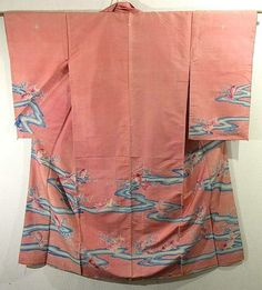 Japan, this kimono has distinctive goldfish and stream pattern, which are dyed on the bright colored background. Textile is silk and has smooth and nubby touch, which is similar to Oshima Tsumugi textile.