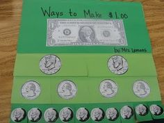 Check out this foldable! what a great way to show how coins add up to a dollar!!