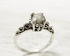 Fancy Uncut Raw Diamond Ring Victorian Style Sterling Band Size 6. love <3