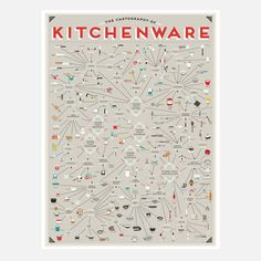Food infographic The Cartography of Kitchenware. Infographic Description The Cartography of Kitchenware - Infographic Source - Cooking Utensils, Kitchen Utensils, Kitchen Tools, Kitchen Items, Kitchen Stuff, Kitchen Decor, Kitchen Artwork, Kitchen Drawers, Kitchen Sink