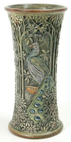 WELLER KNIFEWOOD VASE WITH PEACOCK....love...