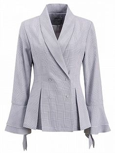 Shop Light Blue Plaid Lapel Double-breasted Flare Sleeve Blazer from choies.com .Free shipping Worldwide.$44.09
