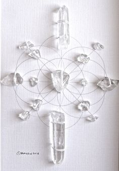 PURIFY ENERGIZE FLOW framed sacred crystal grid clear quartz --- seed of life