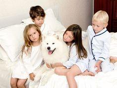 Katrina Tang Photography for Amiki Children Sleepwear AW 13. Kids sitting on a white bed with a white dog #katrinatang #tangkatrina