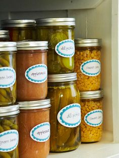 Free printable canning jar labels- more free printables on bhg.com        Keep canned goods orderly with decorative, adhesive labels. Print playfully designed labels on sticker paper and adhere to a clear mason jar.        Editor's Tip: These labels were designed to be printed on 3-1/4x2-inch oval adhesive labels from Paper Source (papersource.com).        Print the canning jar labels.