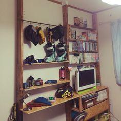 Manamiさんの、棚,セリア,OSB合板,ブライワックス ジャコビアン,ディアウォール,男前,DIY,アンティーク,のお部屋写真