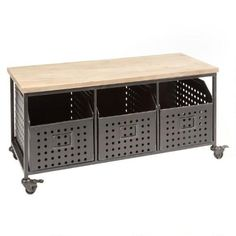 One of my favorite discoveries at ChristmasTreeShops.com: Wood Top Rolling Cabinet Bench with Metal Bins