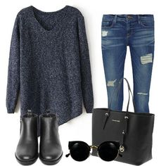 Chic casual Parisian style. Oversized jersey, ankle boots, jeans, and a tote bag.