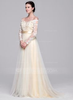 [£226.00] A-Line/Princess Off-the-Shoulder Sweep Train Tulle Wedding Dress With Beading Appliques Lace Sequins Bow(s)