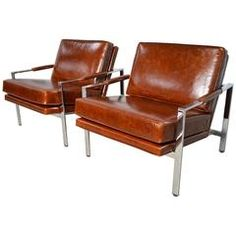 Milo Baughman Pair of Leather and Chrome Flat Bar Lounge Chairs
