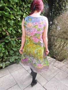 Handpainted summer-silkdress size M. - pinned by pin4etsy.com