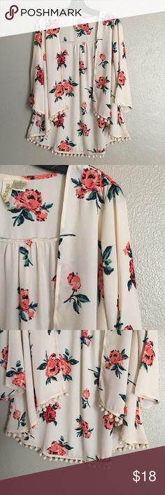 Floral kimono style with Pom poms Super cute! Tops