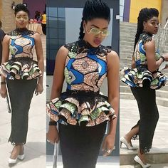 "118 Likes, 8 Comments - Maureen (@stylistabymaureen) on Instagram: ""I'm a product of grace!! wearing one of my designs ankara peplum top and lace skirt…"""