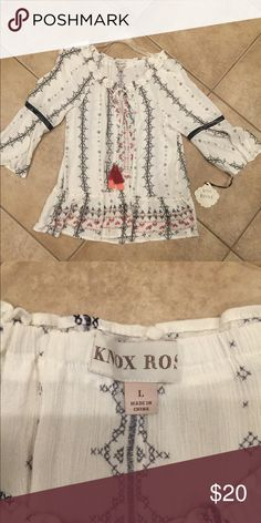 Knox Rose peasant blouse NWT 🌸 Large Knox Rose white and black piping blouse NWT Size large Body: Rayon Knox Rose Tops Blouses Knox Rose Clothing, Plus Fashion, Fashion Tips, Fashion Design, Fashion Trends, Peasant Blouse, Blouses, Lace, Outfits