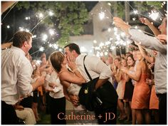 Beautiful Summer Wedding For Catherine and JD Sparkler departure. Summer wedding ideas. romantic wedding photos