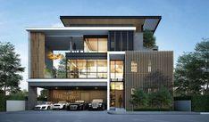 เดอะ เจนทริ เอกมัย-ลาดพร้าว 3 Storey House Design, Two Story House Design, Bungalow House Design, House Front Design, Morden House, Modern Villa Design, Home Building Design, House Elevation, Modern Architecture House