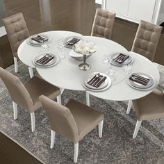 White Gloss Round Extending Dining Table