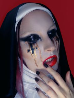VIDEO HERE: https://www.youtube.com/watch?v=_tSCZemkd7A Crying Scary Nun Makeup Tutorial for Halloween 2014
