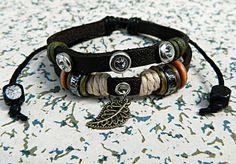 Fashion simple Leather Adjustable Bracelet Metal Leaf by goodlucky, $6.99