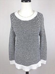 J Crew Sweater Linen Cotton Black White Trendy Crewneck Tunic Geometric Womens M | eBay