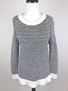 J Crew Sweater Linen Cotton Black White Trendy Crewneck Tunic Geometric Womens M | eBay
