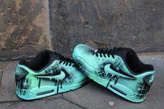 Custom Nike Air max 90 mint Black Abstract graffiti Drip Sneaker  UNIKAT   Rare