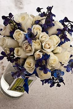 Urban Flowers » royal blue and white bouquet