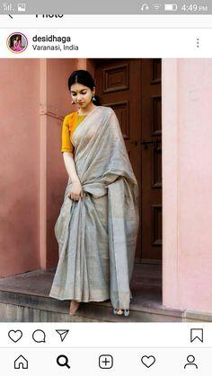 Grey and mustard Indian Frocks, Indian Dresses, Saree Styles, Blouse Styles, Lehenga Saree Design, Sari Blouse Designs, Simple Sarees, Saree Trends, Stylish Sarees