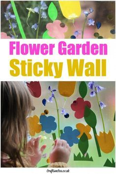 This fun flower garden sticky wall is a great activity for toddlers and preschoolers. A pretty sensory activity that teaches colours and shapes too.