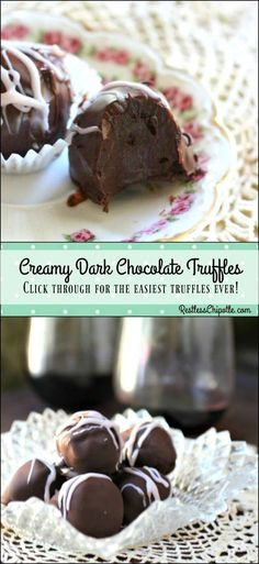 Chocolate Truffles Are Irresistible and Easy So easy! Thise creamy, homemade, dark chocolate truffles recipe is a cinch to…So easy! Thise creamy, homemade, dark chocolate truffles recipe is a cinch to… Homemade Truffles, Truffles Recipe, Homemade Candies, Diy Truffles, Homemade Chocolates, Crinkles Recipe, Köstliche Desserts, Chocolate Desserts, Delicious Desserts