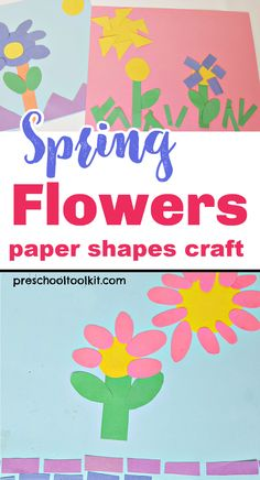 Flowers will blossom in many shapes and sizes with this fun art project for preschoolers. Arrange paper shapes to make flowers and other designs in this spring activity that's perfect for toddler to kindergarten age. #springcrafts #craftsforkids Creative Thinking Skills, Creative Skills, Preschool Art Activities, Spring Activities, Preschool Cutting Practice, Kindergarten Age, Spring Crafts For Kids, Cool Art Projects, Shape Crafts