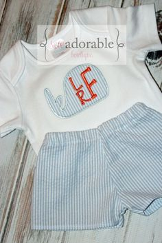 This adorable seersucker short set is the perfect Summer outfit for every little boy and comes complete with FREE MONOGRAMMING! Such a preppy and cute outfit for only $35-$38.