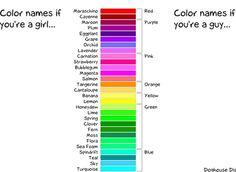 colors between men and women