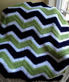 new chevron zig zag baby blanket afghan wrap crochet knit  wheelchair ripple stripes VANNA WHITE yarn navy blue green white handmade in USA by JDCrochetCreations on Etsy https://www.etsy.com/listing/162058232/new-chevron-zig-zag-baby-blanket-afghan