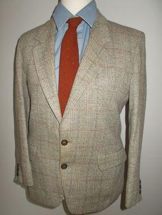 """Vintage mens tweed jacket blazer by Brook Tavener Tailoring made in England pure new wool tweed  40"""" chest Medium by BidandBertVintageMen on Etsy"""
